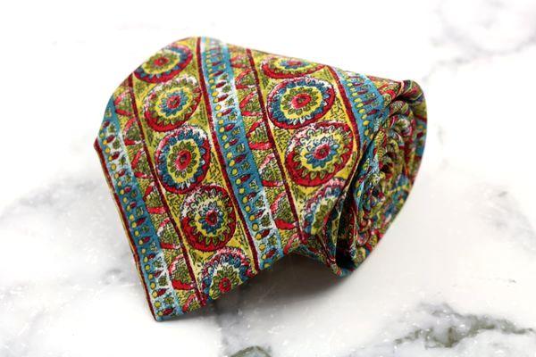 ミッソーニ MISSONI ブランド ネクタイ 出色 ゆうパケット 送料無料 総柄 シルク 中古 グリーン スペイン製 ストライプ柄 美品 爆安