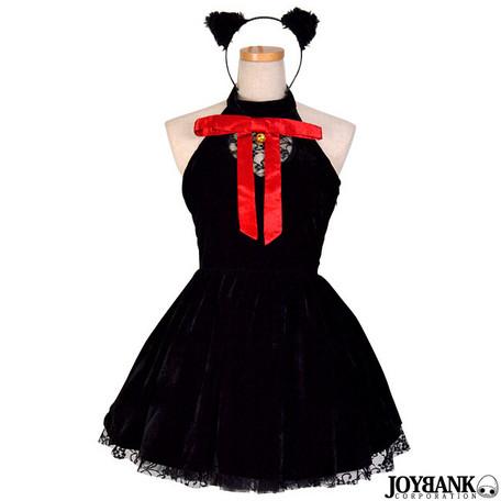 コスプレ レディース 8mm 黒猫ギャザーワンピース ブラックキャット コスチューム 衣装 レディースファッション パーティ イベント ハロウィン 仮装