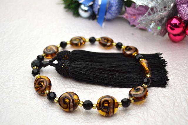 ボヘミアビーズ女性用数珠 ワールドプール(コハク)【略式数珠】【ボヘミアンガラス】【冠婚葬祭】【母の日】【入学祝】【就職祝】【結婚祝】