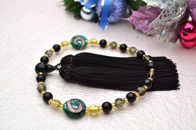 ボヘミアビーズ女性用数珠 ワールドプールゴールド(グリーン)【略式数珠】【ボヘミアンガラス】【冠婚葬祭】【母の日】【入学祝】【就職祝】【結婚祝】
