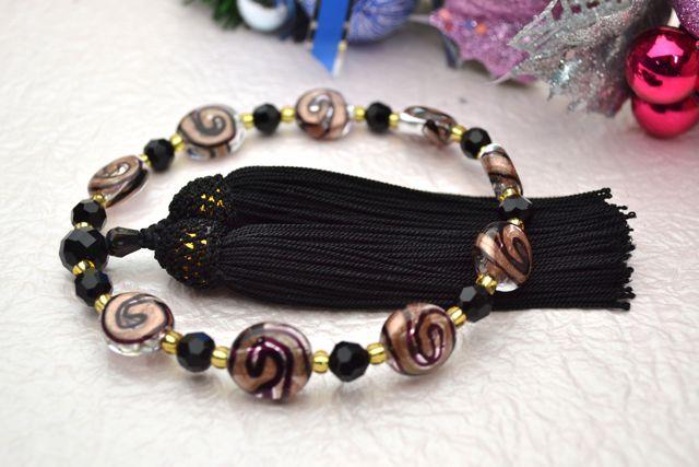 ボヘミアビーズ女性用数珠 ワールドプール(ホワイト)【略式数珠】【ボヘミアンガラス】【冠婚葬祭】【母の日】【入学祝】【就職祝】【結婚祝】