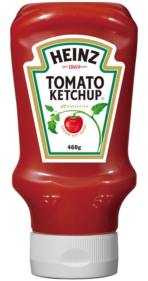 逆さに置ける洗練されたデザイン。トマトの旨みと甘みが生きた濃厚なトマトケチャップ ハインツトマトケチャップ逆さボトル 460g