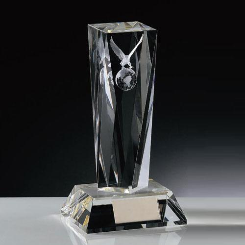 光学ガラス製トロフィー・3Dワシマーク入り(高さ180mm)KT2815-C【文字彫刻無料】【送料無料】[FP/P6]