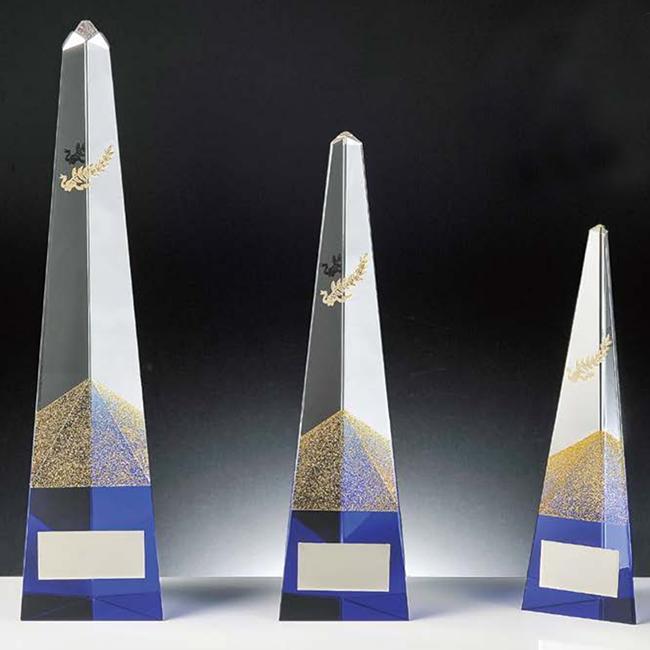 ゴールドラメが輝く☆光学ガラス製トロフィー(高さ275mm 底面幅65mm)KT2806-A【文字彫刻無料】【送料無料】[FP/P6]