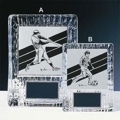 表彰盾:ガラス製楯アルミ製イラストプレート付(160x120mm)XKF6020-A【文字彫刻無料】[F/V6]