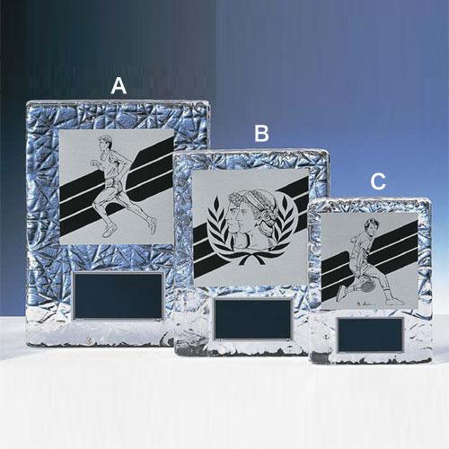 表彰盾:ガラス製楯アルミ製イラストプレート付(180x135mm)XKF6031-A【文字彫刻無料】[F/V7]