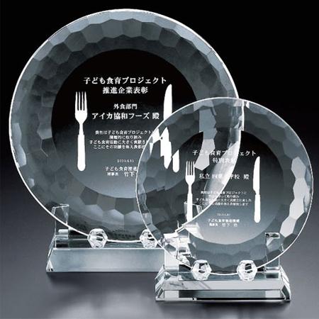 2D加工:クリスタル記念楯・プレート型(直径150mm)VOS309C【セミオーダー】【レーザー加工代無料】【送料無料】[M]