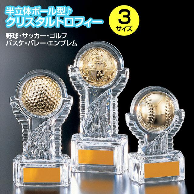 クリスタルトロフィー・半立体ボール型(高さ230mm)YCZ2938-A【文字彫刻無料】【送料無料】[S/25x64]