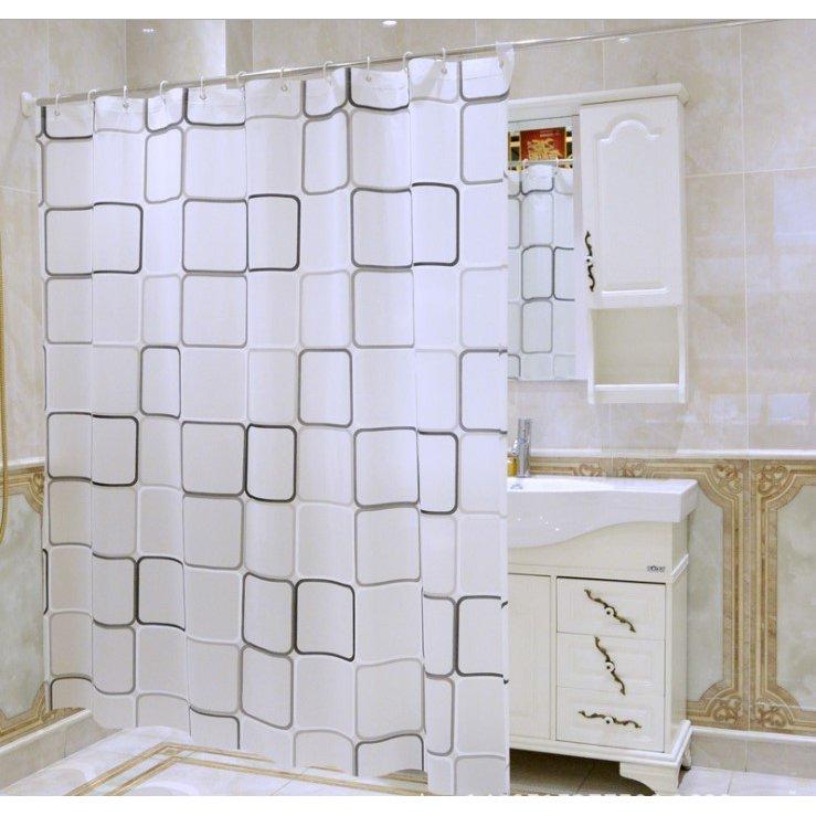 シャワーカーテン シャワーカーテン白黒スクエア 防水防カビ加工 人気の製品 180cm×200cm カーテンリング付属 安値