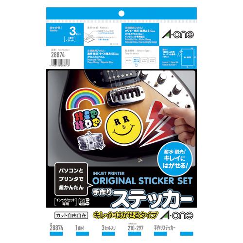 エーワン 特価品コーナー☆ 手作りステッカー キレイにはがせる 3セット 28874 スーパーセール期間限定
