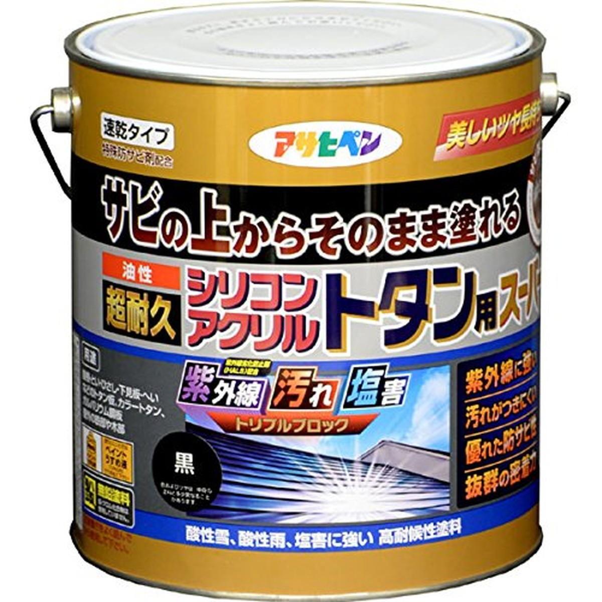 アサヒペン 油性超耐久シリコンアクリルトタン用スーパー 3kg (黒)【クーポン配布中】
