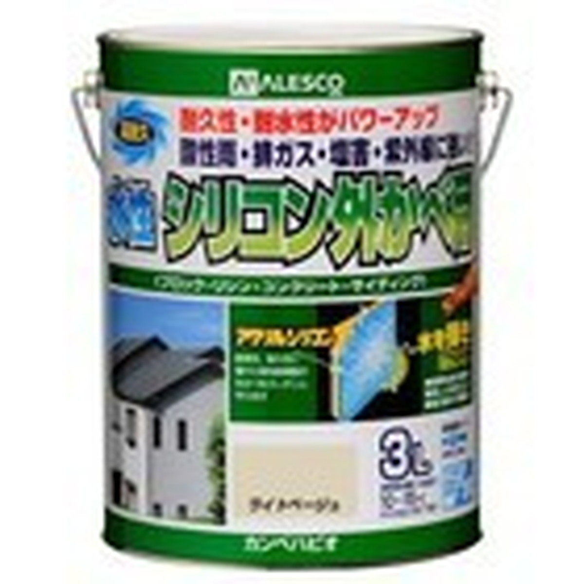 カンペハピオ 水性シリコン外かべ用 ライトベージュ 3L【クーポン配布中】