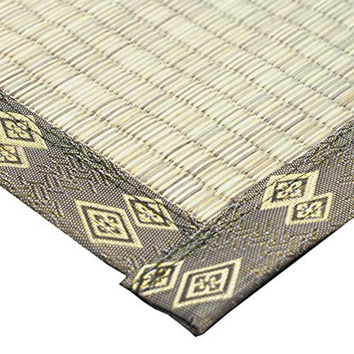 萩原 い草 国産 上敷き カーペット グリーン 江戸間8畳(約352X352cm) 双目織 「千曲川」 148003580