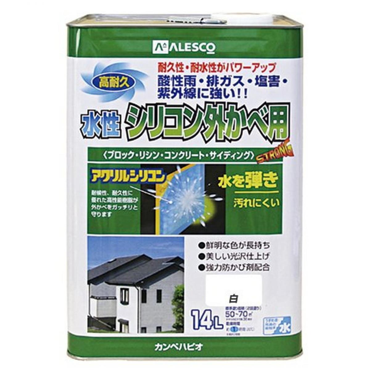 カンペハピオ 水性シリコン外かべ用 白 14L