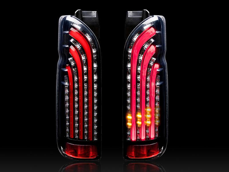 ハイエース LEDテール 200系 1-5型 ライトセーバーシーケンシャルウインカー(流れるウインカー) SQ-RED 415コブラ (CB-H200-LS101