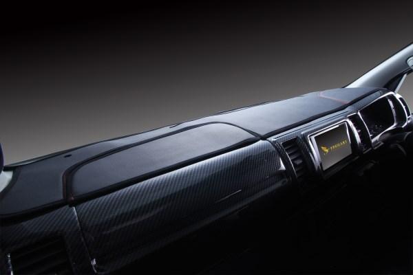 ハイエース プレミアムダッシュマット 200系 2004/8- ブラックレザーxブラックステッチ LUNA/ルナ (DM200BKW