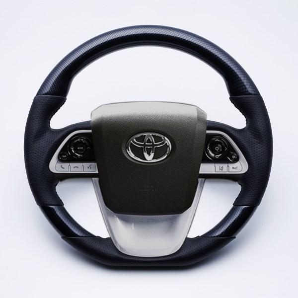 プリウス ステアリング 50系 2015/12- ブラックカーボン調 LUNA/ルナ (LS700-039