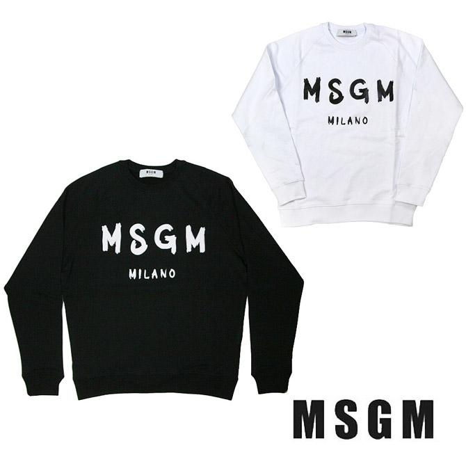 MSGM メンズ エムエスジイエム ブラシストロークロゴ スウェット REGULAR SWEATSHIRT WITH BRUSHSTROKE MSGM LOGO(全2色)【2640MM104-2740MM104】