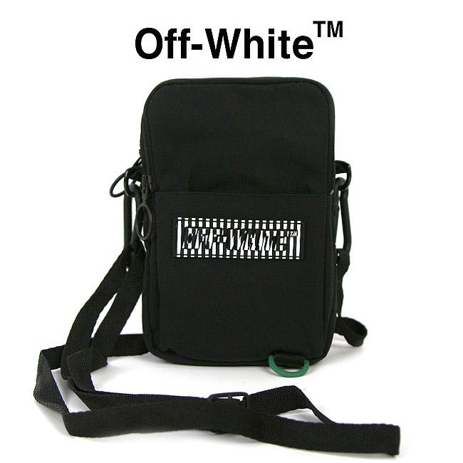 OFF-WHITE バッグ オフホワイト ショルダーバッグ Mini rubber-logo cross-body messenger bag(BLACK)【OMNA055R19C060211000】