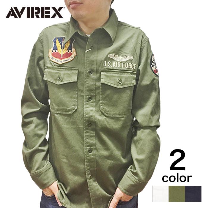 【期間限定20%割引中】【AVIREX】メンズ トップス シャツ 長袖 USAF70s LS SH ホワイト カーキ ネイビー