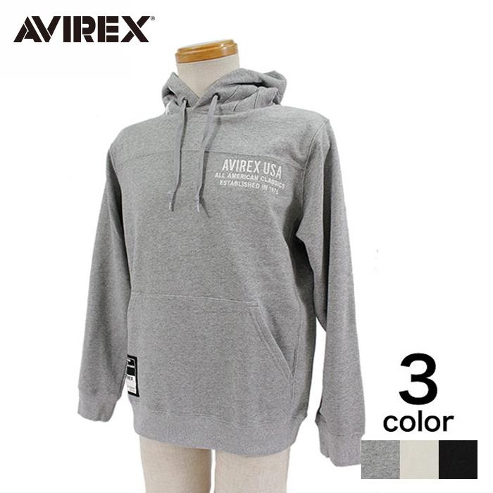 【期間限定20%割引中】【AVIREX】 STAR AND STRIPES SWEAT PARKA メンズ トップス スウェット・パーカー オフホワイト ブラック オックスフォードグレー