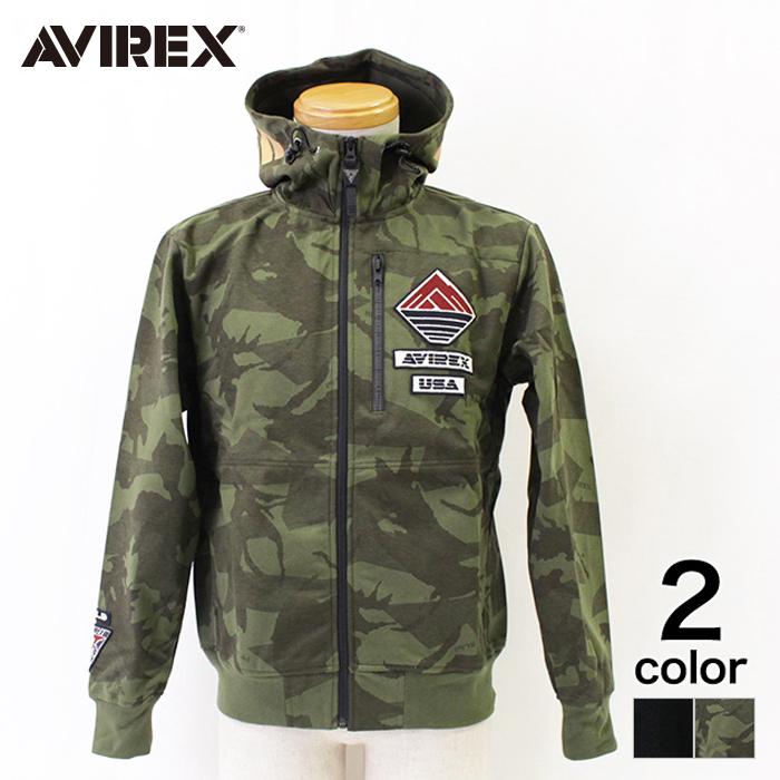 【セール中】【AVIREX】アヴィレックス ウインドガードジップパーカー メンズ トップス ジップパーカー スウェットパーカー BLACK カモ