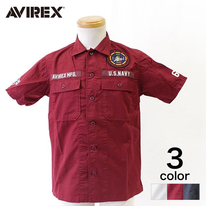 【期間限定20%割引中】【AVIREX】 アヴィレックス ワッペンミリタリーシャツ メンズ トップス シャツ 半袖 ホワイト ネイビー バーガンディ