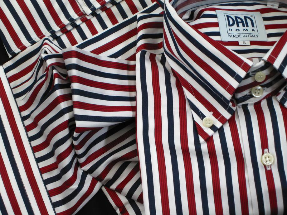 ★表示価格より10%OFF★イタリアシャツ DANROMA ドゥエボットーニ ESCLUSIVE NAMUR_ROSSO a righe ROSSO e NERA BLU