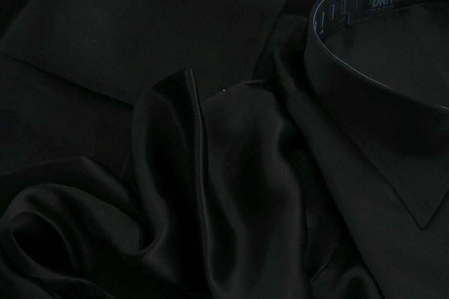 ★イタリアシルクシャツDAN ROMA SILK SATIN PERLA NERA_T_999 普通衿
