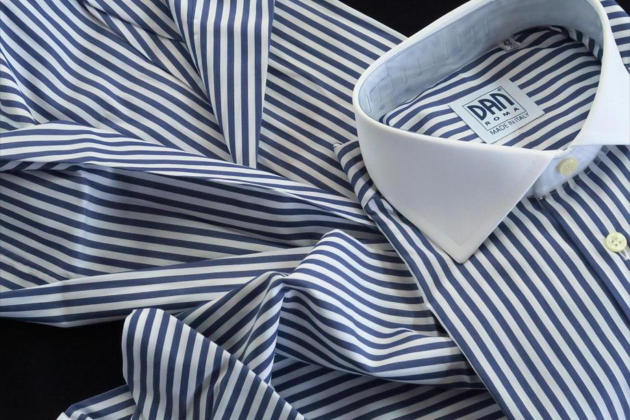 ★イタリアシャツ DAN ROMAクレリックシャツ SKY BLU GRIGIO_151_49