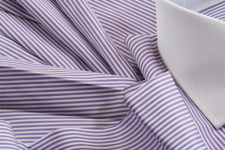 ★表示価格より10%OFF★クレリックシャツ イタリアシャツ DANROMAワイドカラーシャツ 正統派ヴィオラ紫美しくすみれ色ストライプ SKY LILLA RIGATO_154_90