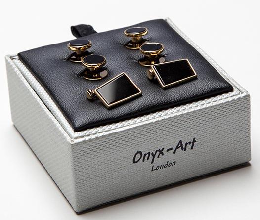 ★FORMAL 結婚式★フォーマルカフス&スタッドボタンのセットオニキス金箔角型スクウェアー黒ゴールド★ONYX_ART LONDON SC_05 ONYX GOLD PLATED DRESS Cufflinks on Chain RECT. & 4 studds in gift box・・❤