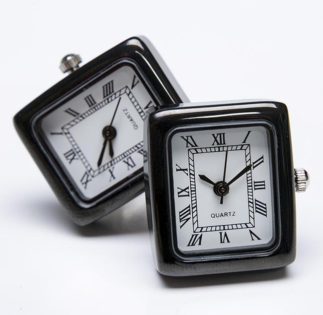 ★カフスボタン ONYX-ART LONDON  CLM_06 RECTANGULAR BLACK WATCH Cufflinks 角型ブラックの時計 これマジで動きます一年間保証付き・・♬~
