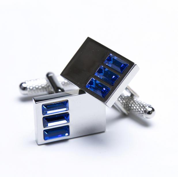 ★カフスボタン ONYX-ART LONDON ccc16 CHROME CUFFS WITH THREE BLUE CRYSTAL