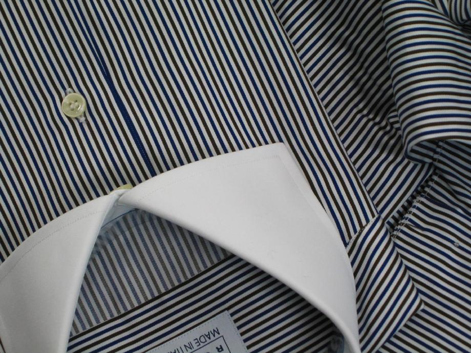 ★表示価格より50%OFF★イタリアシャツ DAN ROMA ワイドカラークレリックシャツダブルカフス NAMUR RIGATO BLU e MARRONE Polsi Doppio