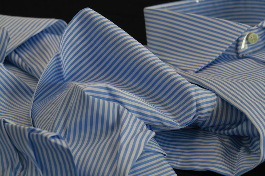 ★表示価格より10%OFF★イタリアシャツ DAN ROMA ワイドカラーシャツ ブルーストライプLa righina pari pari Namur_DA_0006531