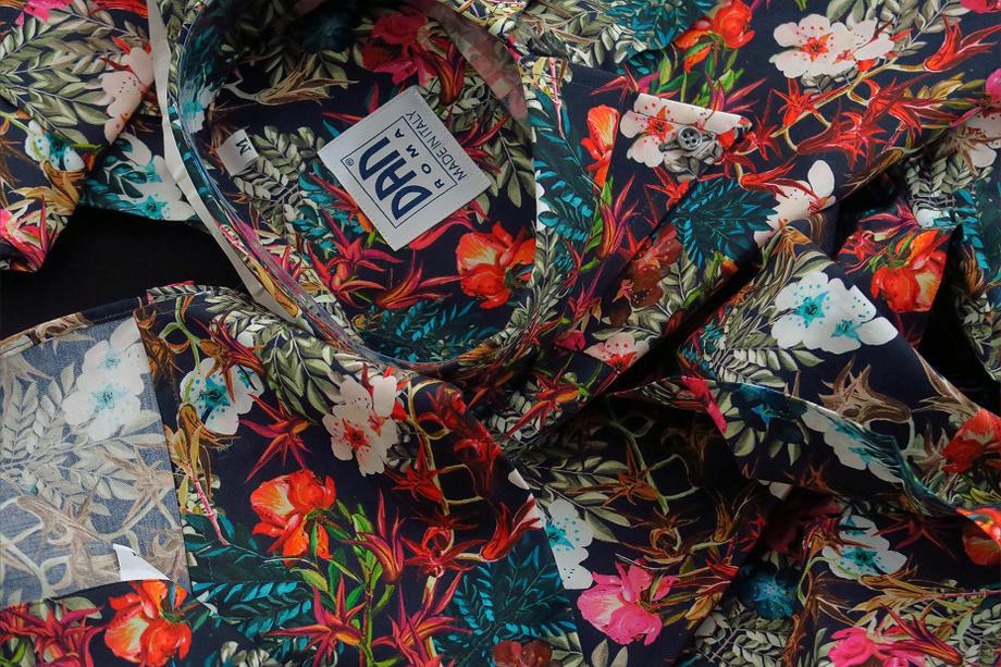 ★花柄イタリアシャツドゥエボットーニ イタリアの香り満載♬~ DANROMA FLORAL_VERONA ROOSO A ROMA