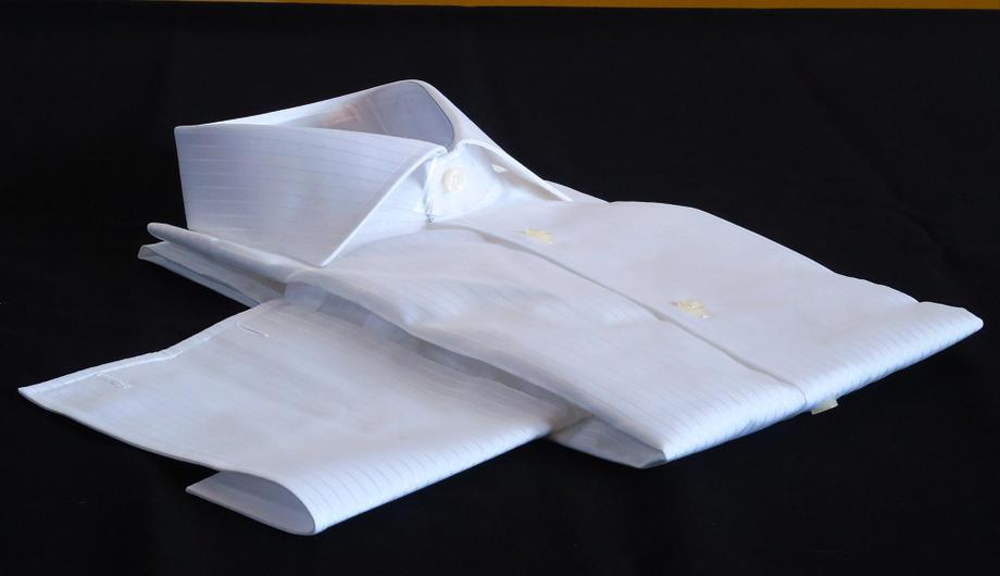 ★表示価格より10%OFF★イタリアシャツ白DANROMAワイドカラーシャツシャドウストライプ PRINCE BCA 3002_299ダブルカフス
