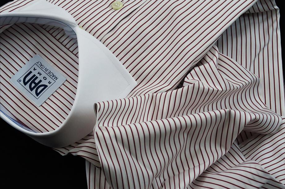 ★表示価格より10%OFF★クレリックシャツ DAN ROMA SKY ROSSO 153_120 ★ワイドカラーシャツ赤くシンプルストライプ ダブルカフス