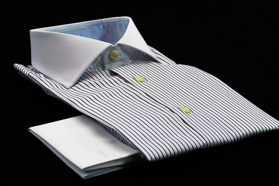 ★表示価格より50%OFF★クレリックシャツ ダブルカフス DAN ROMAワイドカラーシャツ ブルーネイビー シンプルストライプ SKY BLU 153_49