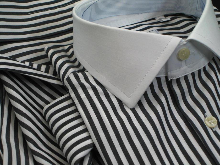 ★イタリアシャツ DAN ROMA クレリック SKY NERA RIGATO MEDIE_151_70