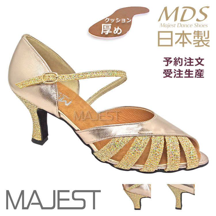 社交ダンスシューズ レディース MDS 日本製としては厚めのインソールで疲れにくい 社交ダンス 兼用 シューズ made in japan サイズ交換送料無料 予約注文 ダンスシューズ MAJEST 女性 日本製 信頼 YJ-K2-63-101 ソフトクッション 靴 革 合同会社 マジェスト 送料無料 国内即発送 エーディーエス 皮