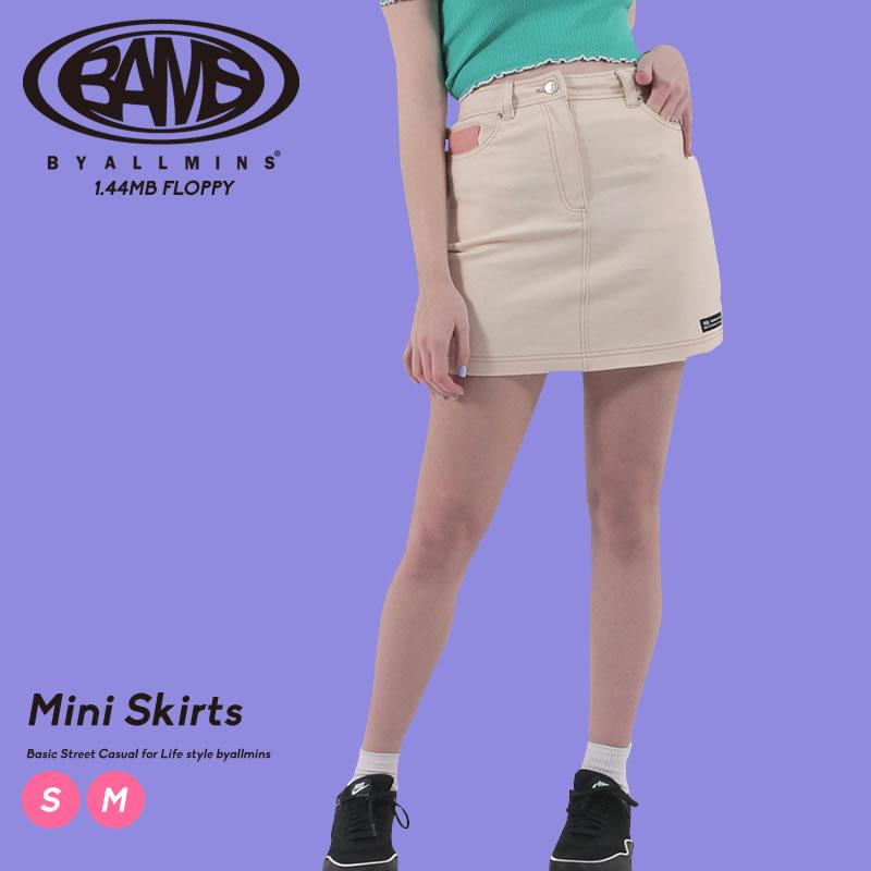 ポケットのポイント配色がユニークなミニスカート Byallmins 買収 バイオールミンズ スカート 台形スカート タイトスカート メーカー在庫限り品 Hラインスカート プチプラ ブランド オルチャンファッション 韓国服 韓国 ファッション
