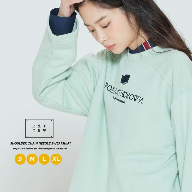 正規激安 ロマンティッククラウンならではの色使いとロゴが魅力のスウェット ROMANTIC CROWN ロマンティッククラウン スウェット ペア トップス お揃い スエット クロップド丈 レイヤード コットン 期間限定の激安セール カットソー 長袖 ブランド ファッション メンズ ユニセックス カップル プチプラ 韓国 韓国服 レディース ロゴ オルチャンファッション
