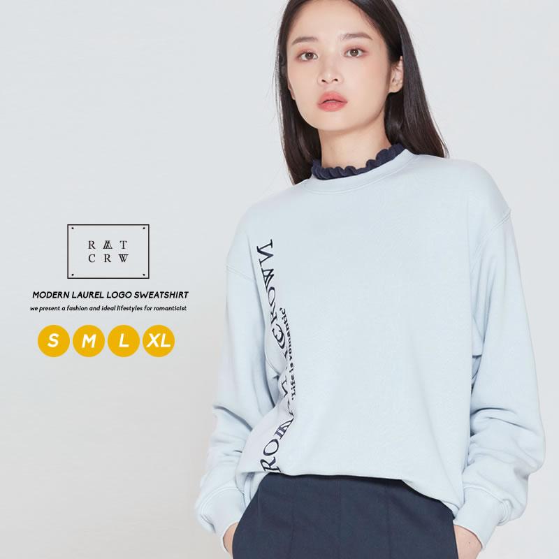 両面にデザインされた刺繍が目を惹くロゴスウェット 2020新作 ROMANTIC CROWN ロマンティッククラウン スウェット ペア トップス お揃い スエット オーバーサイズ レイヤード コットン カットソー ロゴ ブランド プチプラ ユニセックス カップル 韓国服 レディース オルチャンファッション 韓国 メンズ 限定タイムセール 長袖 ファッション