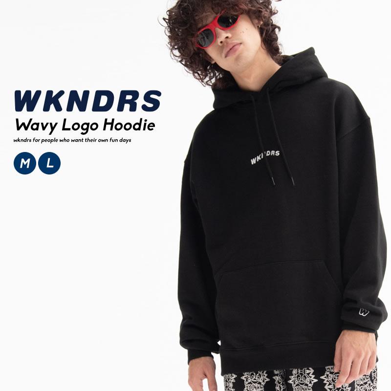 ブランドネームをウェーブロゴでフロントに配したパーカー WKNDRS ウィークエンダーズ メンズ パーカー トップス フーディー スウェット シャツ ついに入荷 プルオーバー ウェーブ ロゴ 綿100% ブランド korea 贈与 オルチャンファッション 韓国 韓国服 コットン100% 秋冬 デイリーコーデ ストリート ファッション
