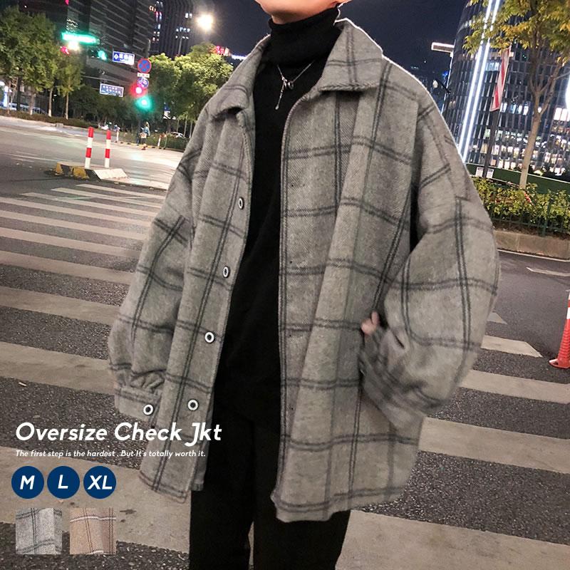韓国ファッション注目のオーバーサイズチェックアウター 9 22再販 韓国 ファッション 冬 メンズ ビックシルエット ジャケット チェック 上着 おしゃれ 売れ筋 ウール ブルゾン ストリート コート ウィンドペン 韓国服 オルチャンファッション アウター SALE開催中