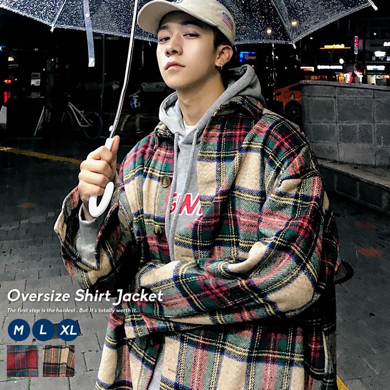 韓国シーンで必須のタータンチェックシャツジャケット 9 22再販 韓国ファッション メンズ チェック ジャケット 秋冬 オルチャンファッション 買収 タータンチェック おしゃれ ストリート モード 韓国服 シャツジャケット 海外並行輸入正規品 ビックシルエット