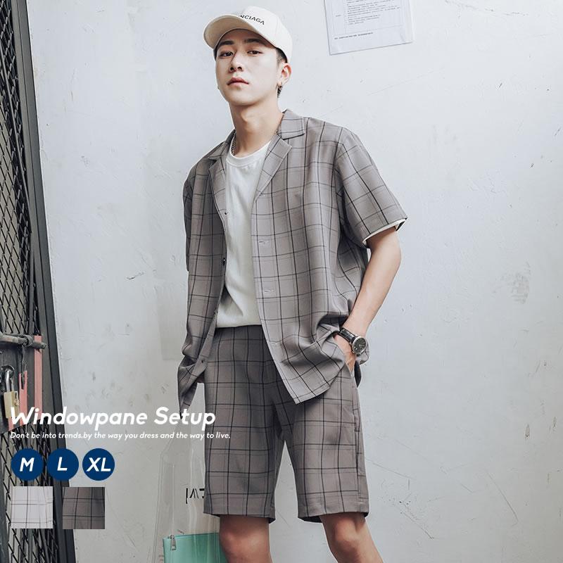 チェックシャツ×ショーツのトレンド上下セットアップ セットアップ メンズ 半袖 夏 韓国 ファッション 上下セット ウィンドウペンチェック 韓国服 ストリート おしゃれ モード オルチャンファッション デイリーコーデ チェックパンツ オープンカラーシャツ 通信販売 SALENEW大人気!