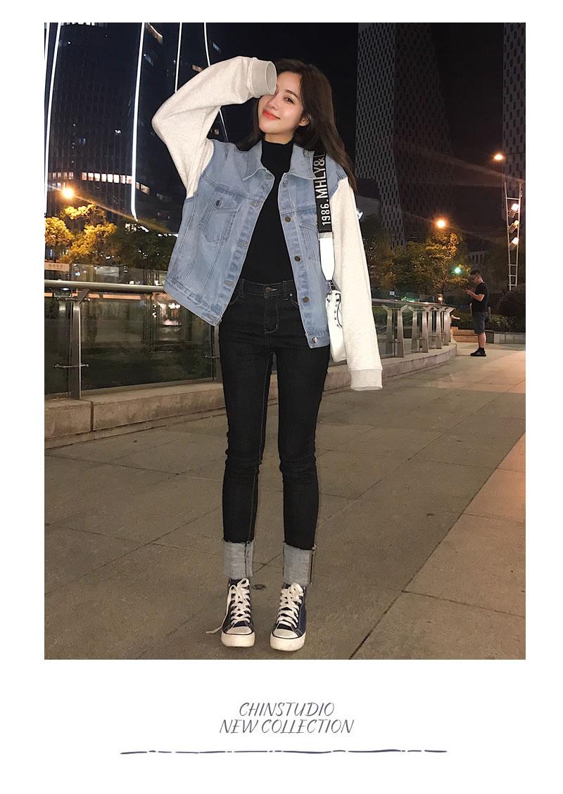 韓国ファッション レディース デニムジャケット 冬 デニム 変形 Gジャン おしゃれ スウェット オルチャンファッション 韓国服  デート|韓国ファッション Shoowtime